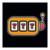 Lucky seven on slot machine icon. Simple illustration of lucky seven on slot machine vector icon for web 777. Lucky seven on slot machine icon. Simple Royalty Free Stock Images