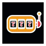 Lucky seven on slot machine icon. Simple illustration of lucky seven on slot machine vector icon for web 777. Lucky seven on slot machine icon. Simple Royalty Free Stock Photography