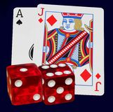 Lucky seven and twenty-one. Lucky winning rolls and cards are always nice Royalty Free Stock Photo