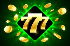 Lucky sevens bright casino banner. With coins flying around Stock Photo