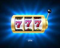 Lucky sevens jackpot on slot machine Royalty Free Stock Photos
