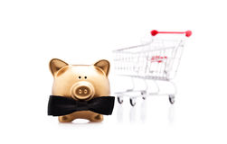 Lucky shopping with a golden pig Stock Images