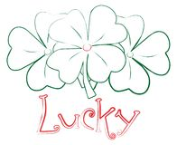 Lucky sign with shamrock. Lucky four clover vector sighn stock illustration