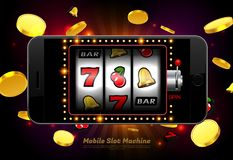Lucky slot machine casino on mobile phone with light background royalty free illustration