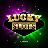 Lucky Slots casino banner. Lucky Slots banner. Slot machine online casino advertising Royalty Free Stock Image
