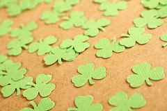 Lucky - Stock Image. Background for St. Patrick's Day. Silhouettes of green clover royalty free stock photo