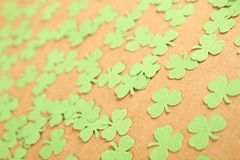 Lucky - Stock Image. Background for St. Patrick's Day. Silhouettes of green clover stock photo