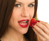 Lucky Strawberry Fruit Food Berry Womans Hand Royalty Free Stock Photo