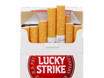 Lucky Strike Cigarette owned by the British American Tobacco Royalty Free Stock Photo