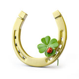 Lucky symbols. Horse-shoe ,  four-leaf clover and ladybug Stock Photos