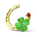 Lucky symbols. Horse-shoe,  four-leaf clover and ladybug Stock Photos