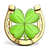 Lucky symbols horse-shoe and four-leaf clover Front view 3D Stock Photography
