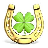 Lucky symbols horse-shoe and four-leaf clover Front view 3D Royalty Free Stock Photography