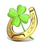 Lucky symbols horse-shoe and four-leaf clover Side view 3D Royalty Free Stock Image