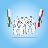 Lucky teeth. Two Smiling Cartoon human teeth holding toothbrushes. Elements have been placed on different layers for easy customization and color changes Royalty Free Stock Photos