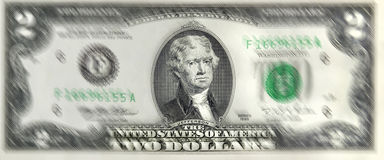 Lucky Two Dollar Bill. Lucky two dollar bill with President Jefferson on front of bill stock photography