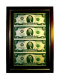 Lucky two dollar picture. Framed uncut two dollar notes (lucky sign Stock Photography