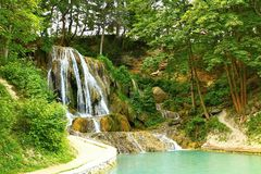 Lucky waterfall, a village with well-known SPA, travertine fields and indispensable royalty free stock photo