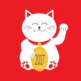 Lucky white cat sitting and holding golden coin 2017 text. Japanese Maneki Neco kitten waving hand paw. Cute cartoon character Gre Royalty Free Stock Image