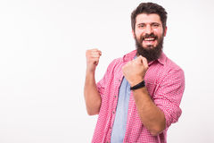 Lucky, winner, happy successful stylish bearded  hipster man Royalty Free Stock Photos