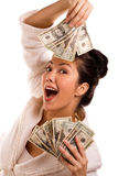 Lucky Winner Holding Cash Stock Photo
