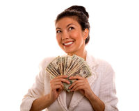 Lucky Winner Holding Cash Royalty Free Stock Photography