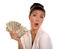 Lucky Winner Holding Cash Royalty Free Stock Photos
