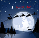 Lucky Woman flying in Santa's sleigh. Lucky Woman flying in Santa's sleigh against a full moon background with stars and Christmas tree's. Vector Illustration Stock Photo
