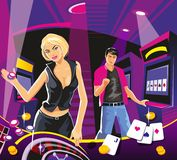 Lucky woman hold casino chips while spinning roulette. Stock Photo