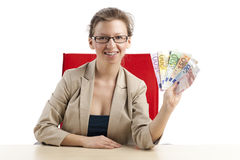 Lucky woman with money in her hand Stock Photos