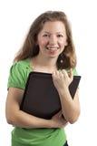 Lucky woman with portfolio Stock Photos