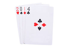 Lucky year 2014 in cards Stock Images
