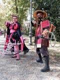 LUCQUES, ITALIE - 11 novembre : masque des personnages de dessin animé à Lucques Image libre de droits