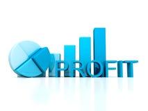 LUCRE os diagramas de carta da torta e da barra do texto azuis Foto de Stock Royalty Free