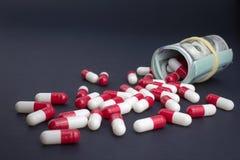 Lucros e pesquisa da indústria farmacêutica imagens de stock royalty free