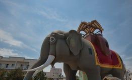 Lucy el elefante en la orilla del jersey fotos de archivo