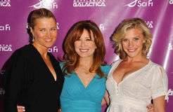 """Katee Sackhoff,Lucy Lawless. Lucy Lawless with Mary McDonnell and Katee Sackhoff at """"An Evening with Battlestar Galactica"""". Arclight Cinerama Dome, Hollywood, CA Royalty Free Stock Photo"""