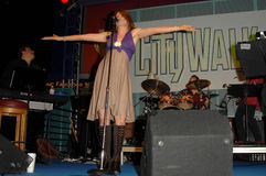 """Lucy Lawless. Performing with her band """"Paperback Hero"""". Universal Citywalk, Universal City, CA. 06-28-08 Stock Photography"""