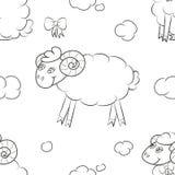 Luddigt fårflyg i molnen vektor illustrationer