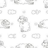 Luddigt fårflyg i molnen stock illustrationer