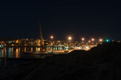 Luderitz harbor and town at night Royalty Free Stock Photo
