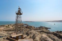 Luderitz miasta widok od Atlantyckiego oceanu, słoneczny dzień, diament kołysa Namibia, Afryka Zdjęcia Royalty Free