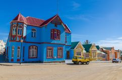 Luderitz, Namibia - July 08 2014: Colorful historic buildings of German colonial times along Bergstrasse Royalty Free Stock Image