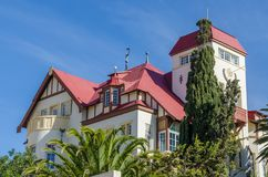 Luderitz, Namibia - July 08 2014: Famous historic Goerke Haus of German colonial times on hill overlooking Luderitz Royalty Free Stock Photo