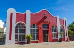 Luderitz, Namibia - July 08 2014: Red historic pub The Barrels of German colonial times Stock Images