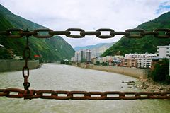Luding Bridge in Sichuan. Luding Bridge, also known as the tie cable bridge, is located on the Dadu River in Luding County, Sichuan province. After Kangxi Stock Photo