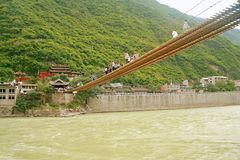 Luding Bridge in Sichuan. Luding Bridge, also known as the tie cable bridge, is located on the Dadu River in Luding County, Sichuan province. After Kangxi Stock Image