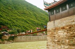 Luding Bridge in Sichuan. Luding Bridge, also known as the tie cable bridge, is located on the Dadu River in Luding County, Sichuan province. After Kangxi Stock Images