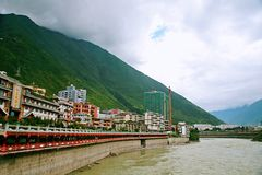 Luding Bridge in Sichuan. Luding Bridge, also known as the tie cable bridge, is located on the Dadu River in Luding County, Sichuan province. After Kangxi Royalty Free Stock Photos