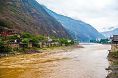 Luding Chain bridge and Dadu River Royalty Free Stock Photography